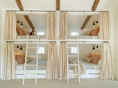 """Bunks are an obvious choice for vacation homes, but I love the idea of a little individual sleeping space within a larger, shared kid-room. (Especially a room this comfy and chic!)"""