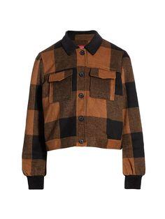 Point Collar, Saks Fifth Avenue, Shirt Jacket, Sportswear, Men Sweater, Plaid, Buffalo Check, Long Sleeve, Casual