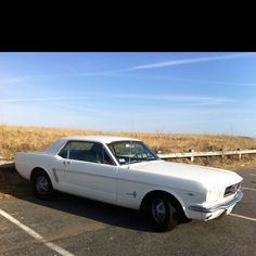 1965 Ford Mustang... my first car. White, just like this. Three speed on the floor. Took me everywhere I wanted to go. Best little car I ever had.