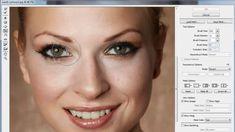 Licuar y deformar (Liquify y warp) para adelgazar/estilizar rasgos facia...