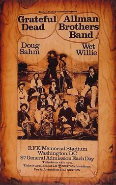 Grateful Dead , Allman Brothers Band RFK Memorial Stadium Saw them at Hampton Roads 1991 RFK, 1985 The Mosque Richmond etc. Grateful Dead Image, Grateful Dead Poster, Norman Rockwell, Monet, Dead Band, Rock Band Posters, Vintage Concert Posters, Vintage Posters, Vintage Rock