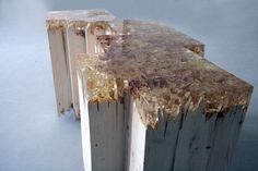 """broken wood table by Jack Craig - , pine, polyester resin. 36"""" x 14"""" x 20"""". Love the frayed details in the broken wood and resin."""