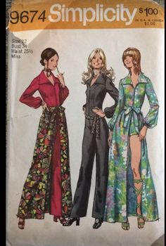 Simplicity 9674 Jumpsuit Skirt Sewing Pattern Size 14 Bust 36 - Jumpsuits and Romper Skirt Patterns Sewing, Vintage Sewing Patterns, Skirt Sewing, Pattern Sewing, Sewing Ideas, Sewing Projects, 70s Fashion, Fashion History, Vintage Fashion