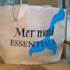 Mermaid essentials tote bag beach bag Burlap by KelleysCollections