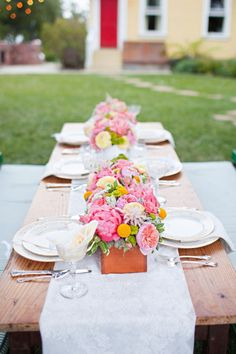 nothing like a bright pop of peony centerpieces to brighten up a tablescape  Photography By http://mirellecarmichael.com, Event Design By http://captivatingeventsbymegan.com