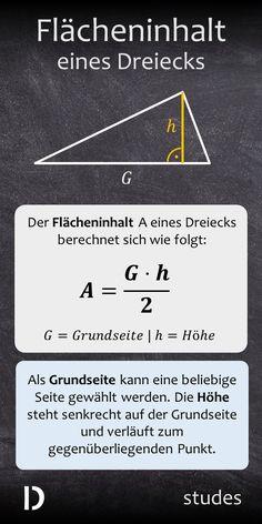 Der Flächeninhalt A eines Dreiecks berechnet sich nach folgender Formel: Flächeninhalt ist gleich Grundseite mal Höhe geteilt durch zwei. Als Grundseite kann eine beliebige Seite gewählt werden. Die Höhe steht senkrecht auf der Grundseite und verläuft zum gegenüberliegenden Punkt. Mehr dazu im Video | studes