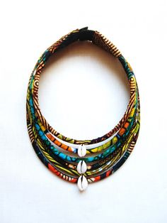 Maasai necklace / cowries wax * 6 rows ~African fashion, Ankara, kitenge, African women dresses, African prints, African men's fashion, Nigerian style, Ghanaian fashion ~DKK