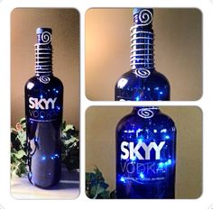 Sky Vodka Bottle Lamp Light Unique Gift Great for the Holidays & Christmas, Birthdays Up cycled Art Recycled and Repurposed    on Etsy, $30.00
