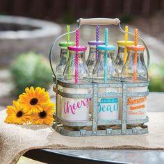 Glass Milk Bottle Drinkware Set & Galvanized Caddy Basket 6 Bottles New In Box #MILKJUGCADDYSET