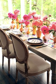 Check out this beautiful table setting atop our Farm Dining Table with Edward Dining Chairs!