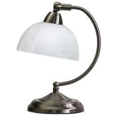 Elegant Designs  Mini Modern Banker's Desk Lamp ($45) ❤ liked on Polyvore featuring home, lighting, desk lamps, brushed nickel, dimmable lights, modern lighting, mini shades, mini desk lamp and miniature lights
