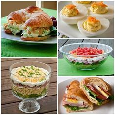 Clockwise from left to right: Simple Chicken Salad Croissant Sandwiches, Devilishly Delicious Eggs, Layered Pasta Salad, Cobb Salad Sandwich, and Hearty Eight Layer Salad Easter Recipes, Appetizer Recipes, Salad Recipes, Appetizers, Chicken Salad Croissant, Leftovers Recipes, Lunch Snacks, Wrap Sandwiches, Side Dish Recipes