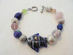 Vintage Blue Glass Cloisonne/Lampwork Fish Beaded Bracelet Silver Spacers Toggle #Unbranded #Statement