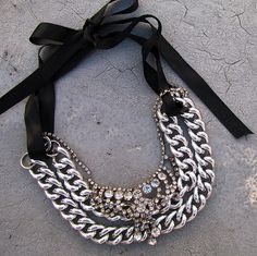 chunky-chain-vintage-rhinestone-necklace-layering by ...love Maegan, via Flickr. Many cool necklaces on this site.