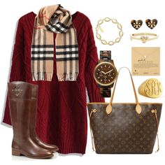 Burberry scarf, maroon/burgundy sweater dress, Tory burch boots, tortoise chill watch, etc. Love this winter outfit