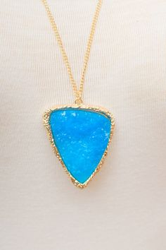 Caribbean Blue Stone Necklace @Meranda Shepard Shepard Collins  --what about totally going simple and classy with my bright blue teardrop earrings and a classic necklace such as this? with the same dress and shoes, of course.