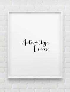 printable typographic poster // Actually I can von spellandtell