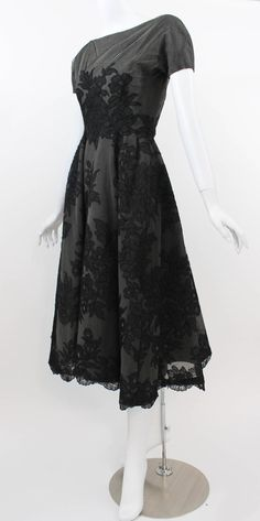 46c1f76bf4d 1950s Mort Mogel Black Lace and Charcoal Grey Net Full Skirt Cocktail   Party Dress