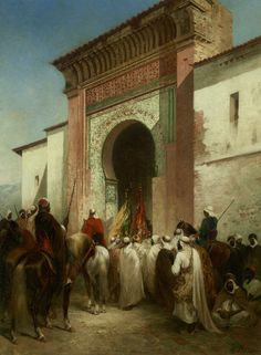 View Royal Procession at the Gateway By Honore Boze; Access more artwork lots and estimated & realized auction prices on MutualArt. Victorian Paintings, Culture Art, Arabian Art, Islamic Paintings, Exotic Art, Academic Art, Greek Warrior, Historical Art, Arabian Nights