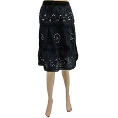 c8d05404f7fa7 Bellydance Boho Gypsy Women Cotton Skirts Black Sequin Embroidered Calf  Length Skirt 32