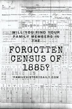 In 1879 the U.S. government asked states to take a semi-decennial census in 1885 – in addition to the upcoming 1880 and 1890 censuses – with the promise that they would cover 50% of the costs of the undertaking. Free Genealogy Sites, Word Families, Nebraska, Finding Yourself, Words, Horse
