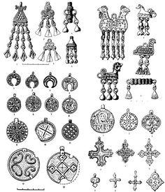 """исунок 5. Типичные находки из Костромских курганов. Верхний блок - предметы финно-угорского облика; нижний - русского облика. Композиция из рисунков из книги """"Археологическая карта..."""". Viking Shield, Viking Art, Viking Runes, Viking Woman, Celtic Clothing, Medieval Clothing, Historical Clothing, Historical Photos, Medieval Jewelry"""