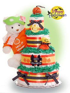 Halloween Baby Shower Ideas - find tons of ideas including this awesome diaper cake!