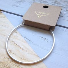 Brushed silver bangle in recycled silver. Pillow Box, Silver Bangles, Hummingbird, Hand Stamped, Gifts For Her, Recycling, My Etsy Shop, Hand Painted, Slim