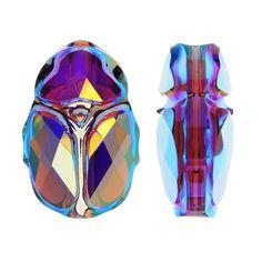 Swarovski Crystal, #5728 Scarab Bead 12mm, 1 Piece, Amethyst AB 2X