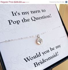 ON SALE Be my Bridesmaid gift, Asking Bridesmaids cards with necklace, Bridesmaid gift set, Card and necklace set