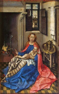 Robert Campin, Master of Flémalle  (1375-1444) —  Madonna and Child with the fireplace : The State Hermitage Museum,  St. Petersburg, Russia  (779×1241)