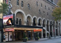 The Al Hirschfeld Theatre is located on West 45th Street, between 8th and 9th Avenues. It is sometimes referred to the Martin Beck Theatre- Byzantine details, fluted colunms, opulent!