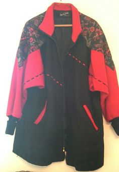 Miss New Yorker Women's Coat Red Black Floral Tapestry #MissNewYorker #BasicCoat
