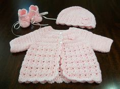 Baby Sweater Set Infant Coming Home Outfit Crocheted Baby