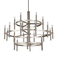 The Encore collection, features precise thin candles on circular airy frames. This light design is pleasing to the eye and comes in two finishes. Shown in polished nickel and available in a oil rubbed bronze as well. (Extra rods included for easy height adjustment, and handstraight for sloped ceilings.)