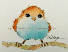 This is my original watercolor painting of a whimsical baby bird. It was painted in the small collector size called ACEO size. This size is 2 ½ x 3 ½ inches, and it comes matted in a white 5 x 7 mat. The painting and mat will have an acid-free foamboard backing, and everything will be wrapped in a clear mylar sleeve. Everything will be ready to pop into any standard 5 x 7 frame, or it could be rematted to fit into a larger frame. It will be prepared in such a way that it can be given as a…