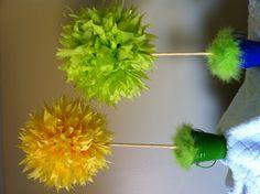 Truffula Tree center pieces for a Dr Seuss Baby Shower.