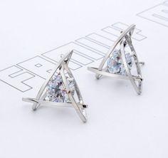 Triangle Crystal Zircon Earrings