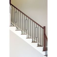 Staircase Railing Design, Interior Stair Railing, Modern Stair Railing, Wrought Iron Stair Railing, Iron Balusters, Iron Spindle Staircase, Stair Banister, Metal Stairs, Modern Stairs Design