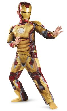 Iron Man 3 Mark 42 Classic Muscle Costume Medium (7-8): Includes jumpsuit with muscle torse and arms and character mask. This is an officially licensed Marvel product.