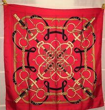 "HERMES 90 Tuch ""Eperon D Or"" foulard carre Seide VINTAGE rare Henry d' Origny"