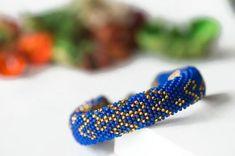"""Bead crochet bracelet """"Oriental style"""" - Blue bracelet, Handmade jewelry, Beadwork bracelet, Rope bracelet, Casual style, Seed bead bracelet"""