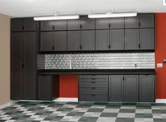 black gray and red garage