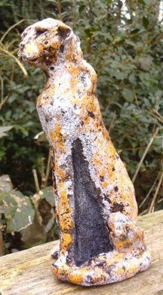Ceramic - Raku #sculpture by #sculptor Marie Ackers titled: 'Raku Cheetah (ceramic Small Seated Surveying Big Cat statue/sculpture)'. #MarieAckers
