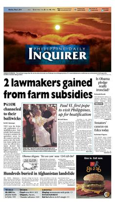 """""""2 lawmakers gained from farm subsidies,"""" today's Inquirer Banner Story (May 5, 2014). Grab your copies from the nearest newsstand or download the digital version at inquirer.net/apps/"""