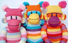 sunsetgirl creations--colorful sock monkeys and chickens Colorful Socks, Sock Monkeys, Toys, Crafts, Socks, Manualidades, Happy Socks, Toy, Games