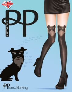 Pretty barking panty van Pretty Polly. Een suspender panty met honden oortjes. Kleur: zwart/ huidskleur. 60/20 denier. Maat: One size (36 t/m 42)