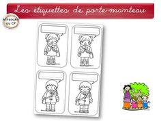 Etiquettes pour personnaliser la patère de chaque élève : l'élève doit colorier et compléter par son prénom.