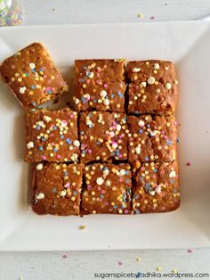 White Chocolate and Sprinkle Blondies, perfect to cheer you up on a sad gloomy day!