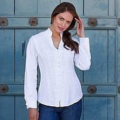 Petrea Organic Cotton Blouse on nationalgeographic shop website which shows detail on zoom
